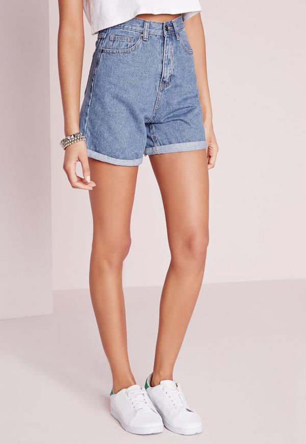 High Waisted Turn Up Hem Mom Denim Shorts Blue | Missguided
