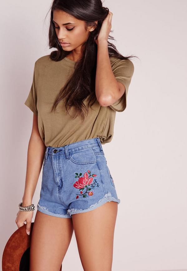 Rose Embroidered Denim Shorts Blue