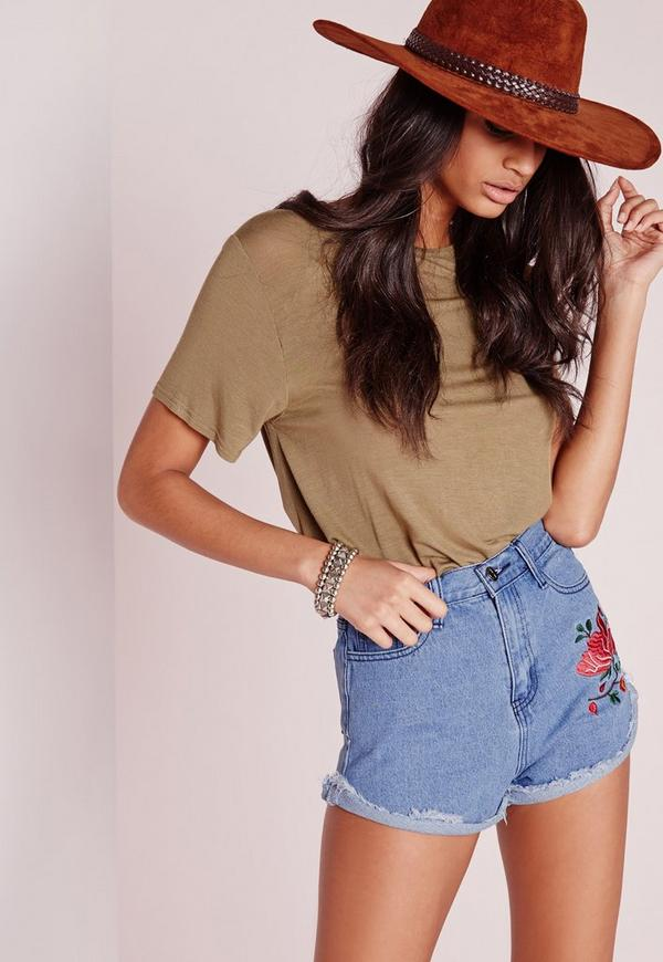 Rose embroidered denim shorts blue missguided