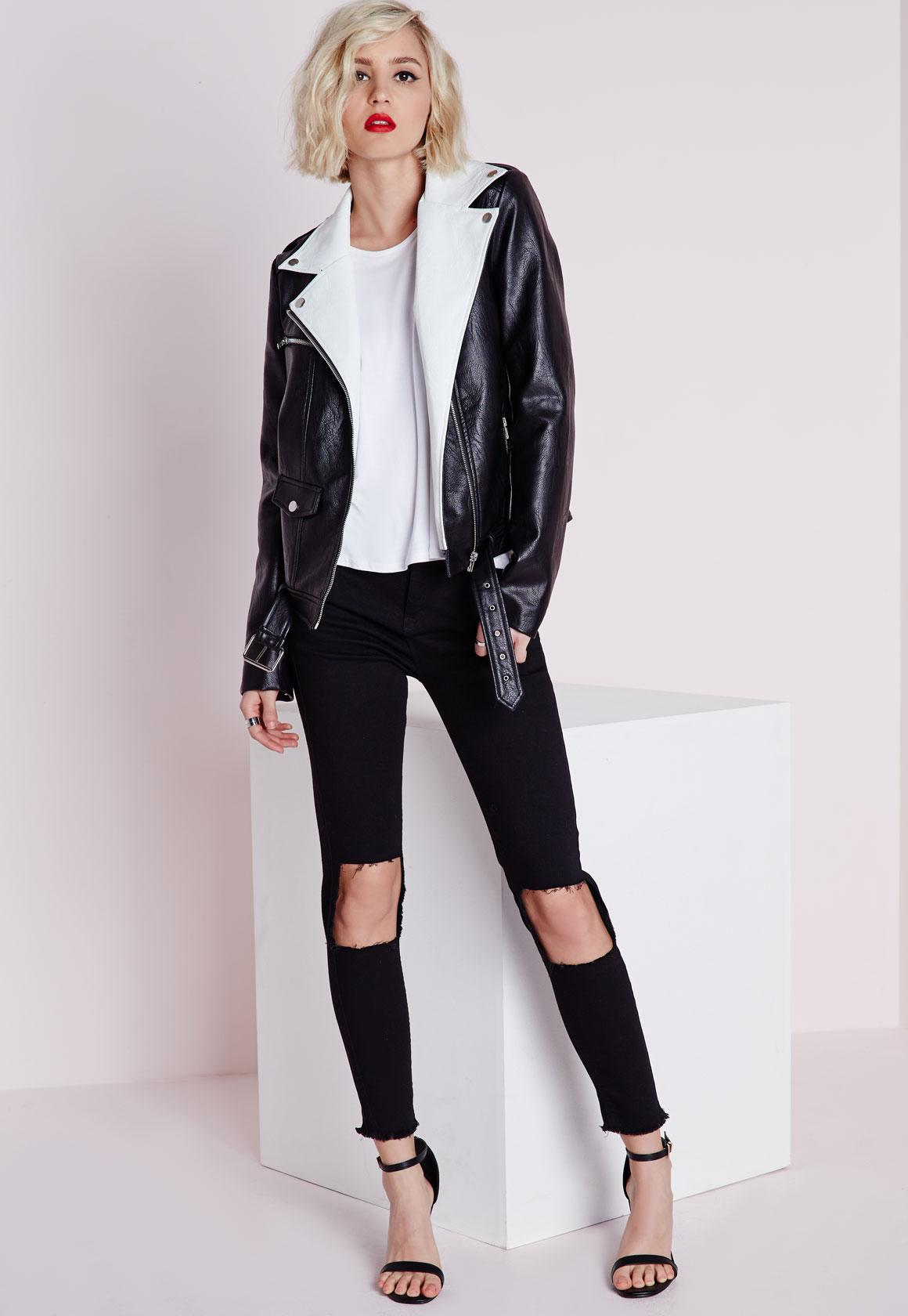 Extreme Cut Out Knee Skinny Jeans Black | Missguided