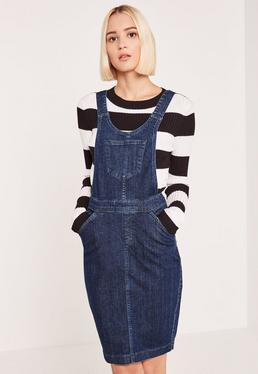 Blue Pinafore Fitted Denim Dress