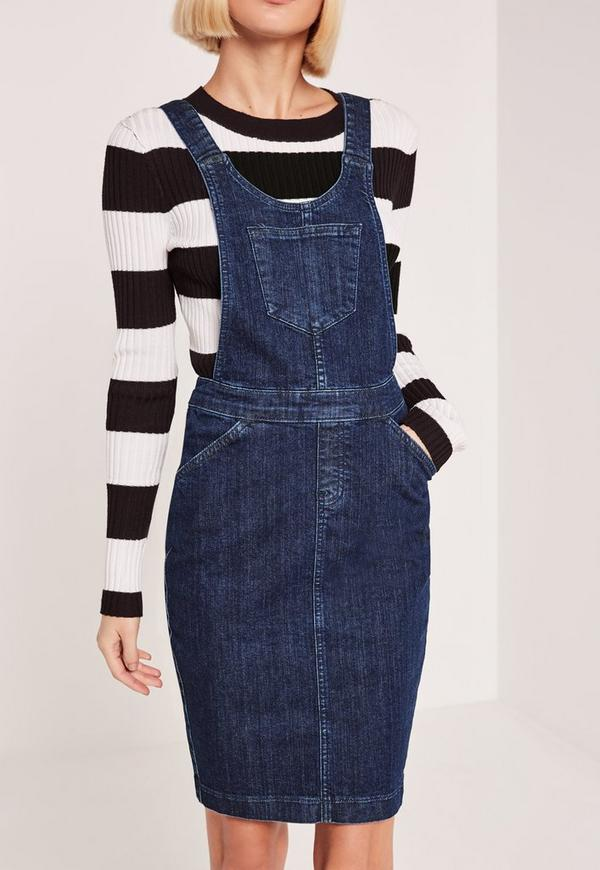 Blue Pinafore Fitted Denim Dress Missguided