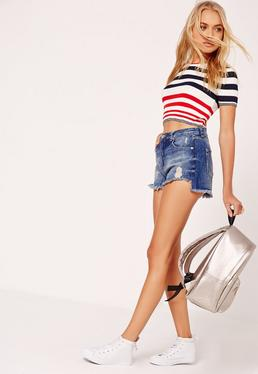Riot High Waisted Step Hem Shorts Blue