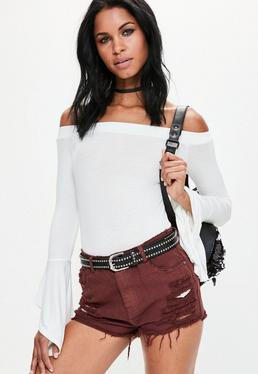 High Waist Shredded Denim Short Burgundy