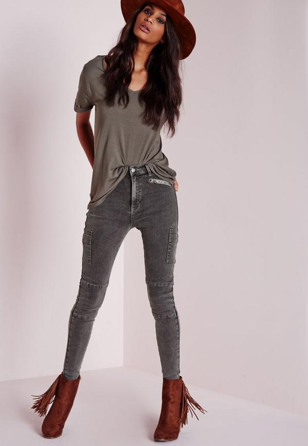5a82a93f065f Sinner High Waisted Zipped Cargo Skinny Jeans Charcoal. Was €34.00. Now  €17.00 (52% off). Previous Next