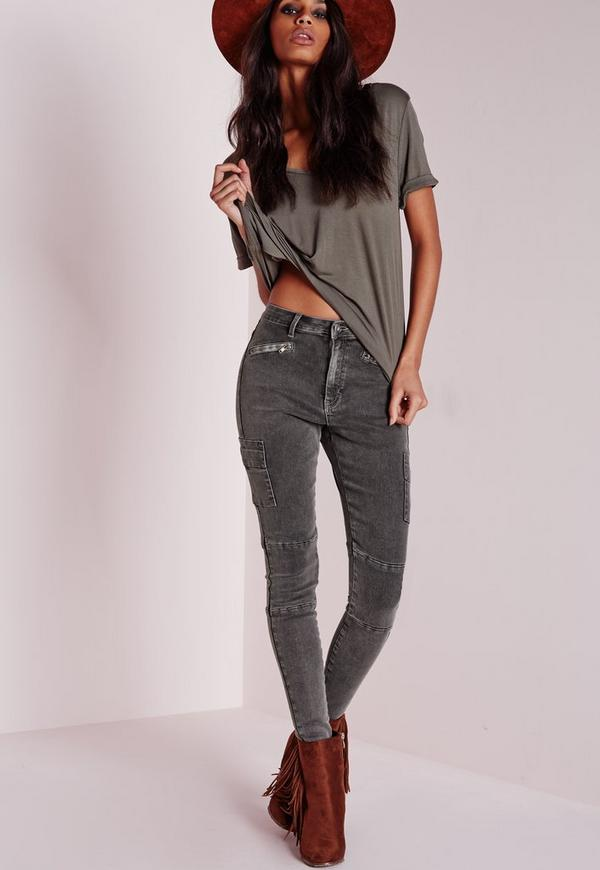 40fce0f874c9 Sinner High Waisted Zipped Cargo Skinny Jeans Charcoal. Was $50.00. Now  $24.00 (52% off). Previous Next