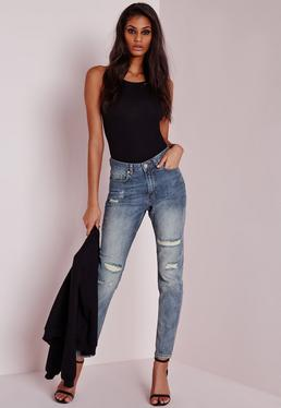 riot high rise ripped mom jeans aged vintage blue