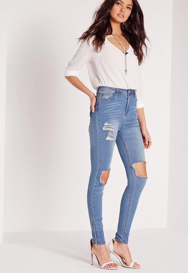 Sinner High Waisted Busted Knee Skinny Jeans Dusty Vintage