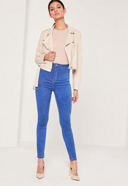 vice super stretch high waisted skinny jeans blue