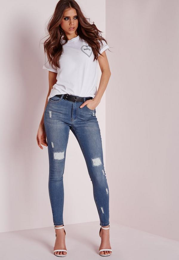 Sinner High Rise Rip and Repair skinny jeans