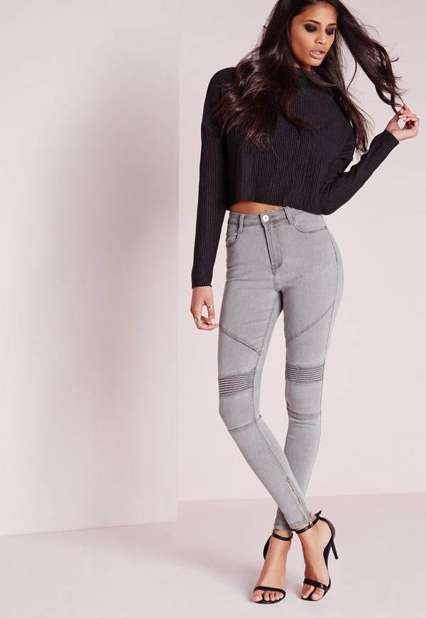 Sinner High Waisted Skinny Biker Jeans Grey