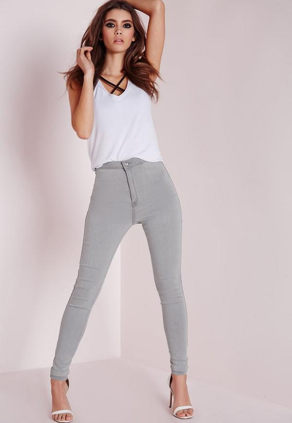 Vice High Waisted Skinny Jeans Light Grey - Denim - Jeans - Missguided