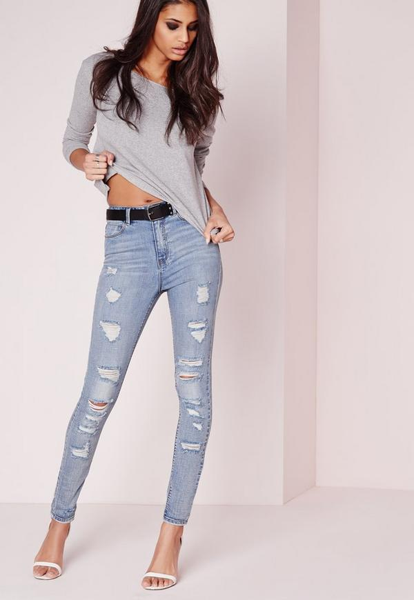 Sinner High Waisted Extreme Rip Skinny Jeans Stonewash