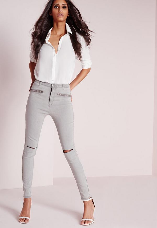 Sinner High Waisted Slash Knee Skinny Jeans Light Grey