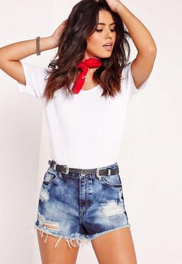 High Waisted Ripped Shorts Extreme Blue
