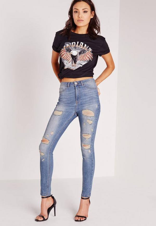 Sinner Highwaisted Ripped Skinny Jeans Aged Blue