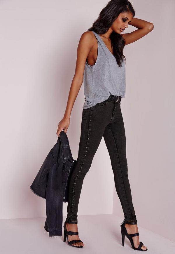 Hustler Mid Rise Eyelet Seam Skinny Jeans Charcoal