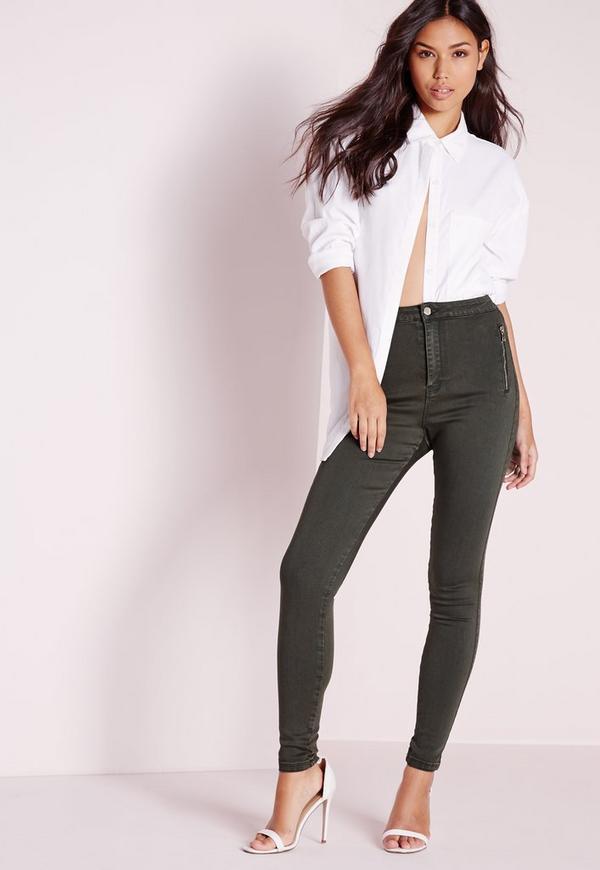 Vice High Waisted Zipped Super Stretch Skinny Jeans Khaki