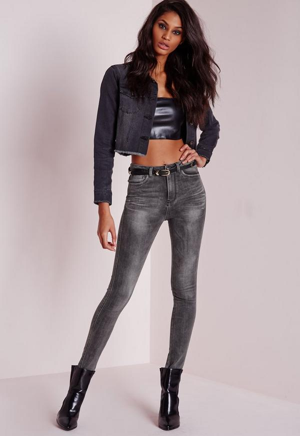 Sinner High Waisted Skinny Jeans Charcoal