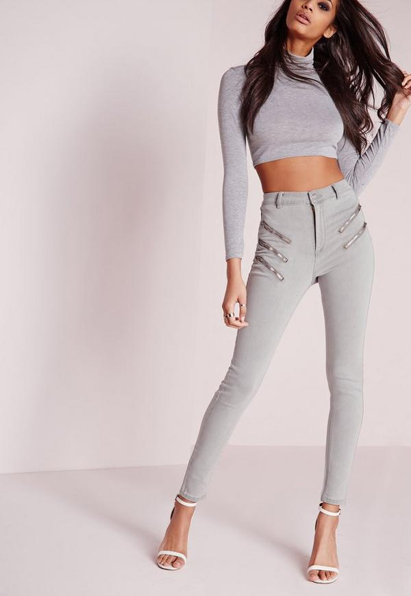 sinner multi zip skinny jeans grey
