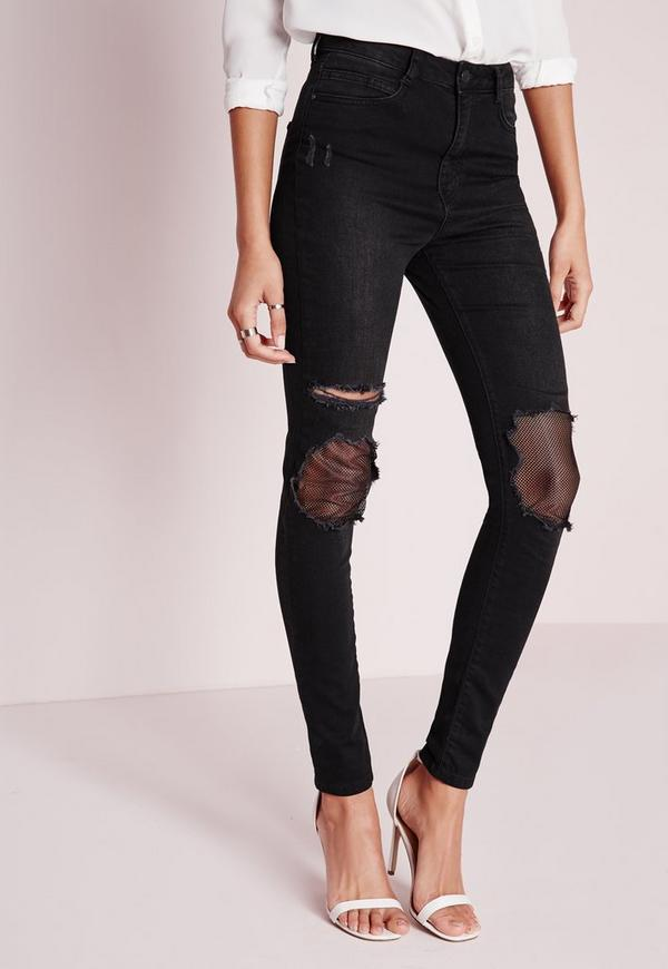 jean noir taille haute trou avec r sille sinner missguided. Black Bedroom Furniture Sets. Home Design Ideas