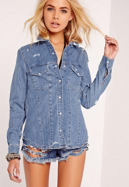 Blue Button Down Ripped Denim Shirt