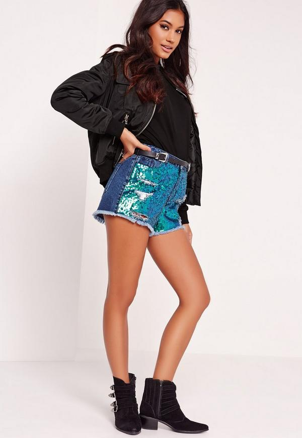 High Waisted Rip Sequin Shorts Wash Blue | Missguided
