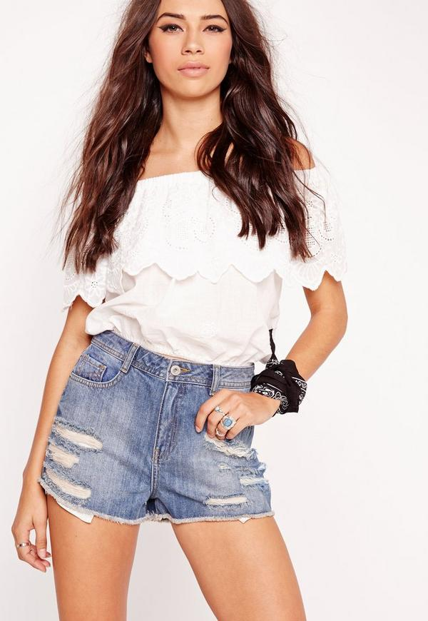 Sinner High Waisted Ripped Shorts Vintage Blue