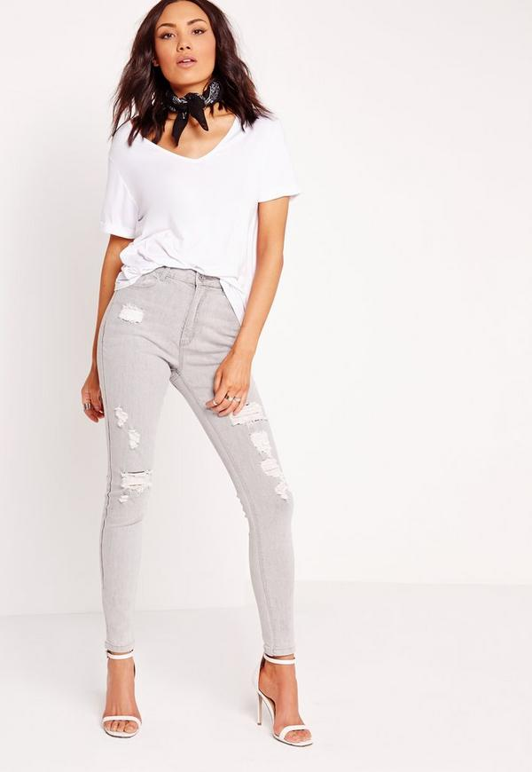 Sinner High Waisted Ripped Skinny Jeans Marbled Grey