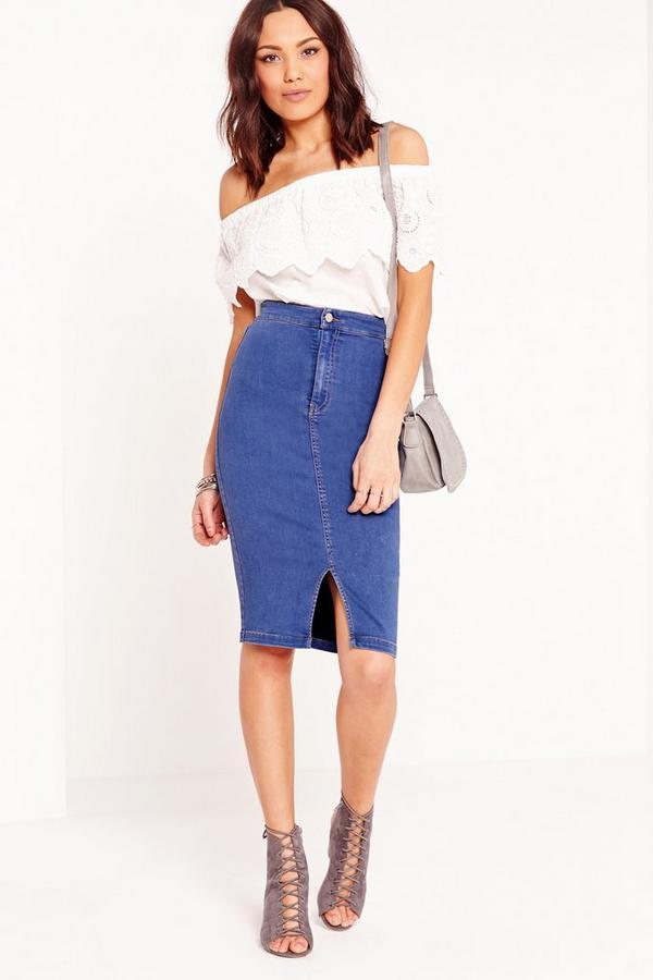 jupe midi taille haute en jean bleu missguided