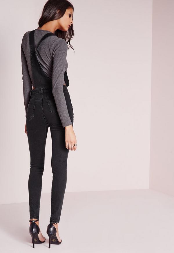 salopette skinny en jean noir d lav missguided. Black Bedroom Furniture Sets. Home Design Ideas