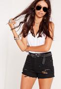 High Waisted Shredded Denim Shorts Black