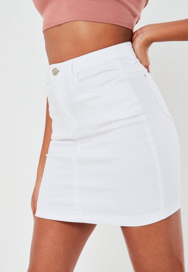 White Denim Super Stretch Mini Skirt | Missguided