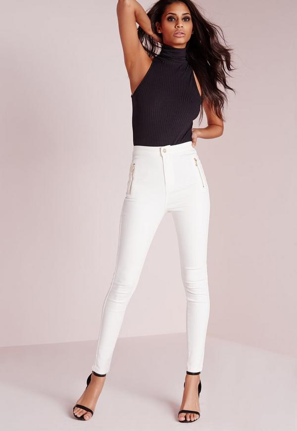 vice highwaisted zip detail skinny jean white missguided. Black Bedroom Furniture Sets. Home Design Ideas