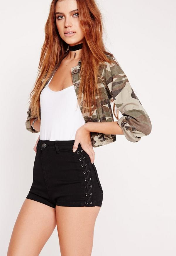 vice lace up denim shorts black