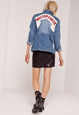 Slogan Ripped Denim Jacket Blue