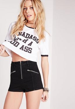 Vice Zipped Denim Shorts Black