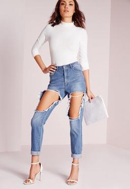 Riot High Rise Open Thigh Slim Leg Jeans Stonewash Blue