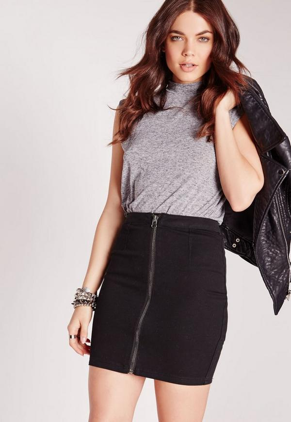 Zip Through Denim Mini Skirt Black