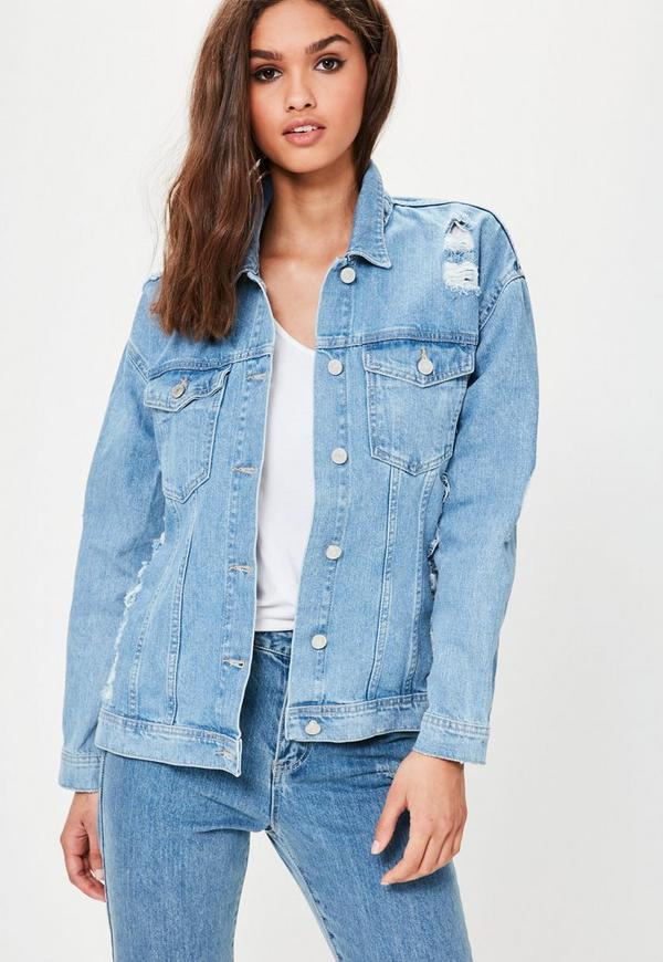 light blue shredded back denim jacket  missguided