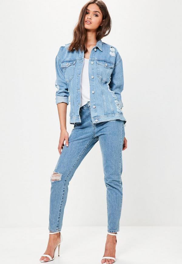 Blue Oversized Denim Jacket. Order today & shop it like it's hot at Missguided. This simple denim jacket features a mid blue shade, oversized fit, silver button fasten at the front and top pockets.