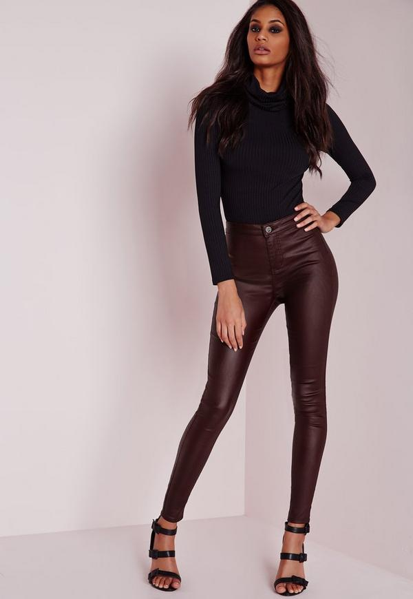 Vice High Waisted Wet Look Super Stretch Skinny Jeans Burgundy