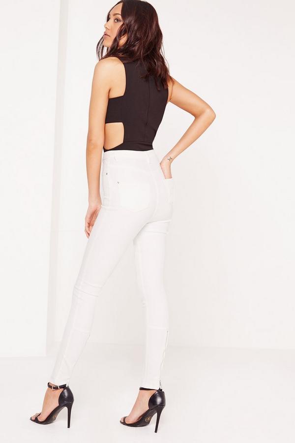 Vice High Waisted Zipped Back Hem Skinny Jeans White