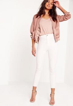 Vice – High-Waist-Ankle-Grazer-Skinny-Jeans in Weiß