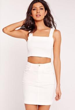 Crop top en jean blanc super stretch