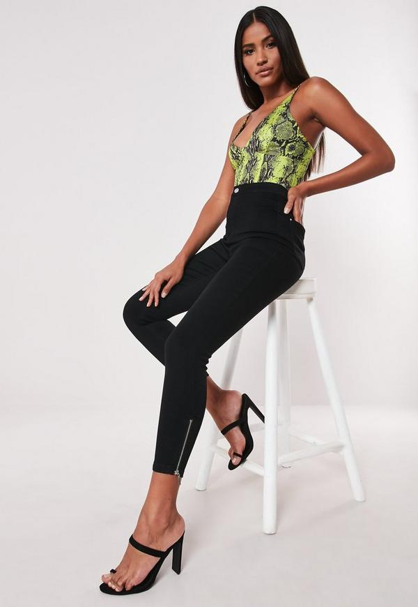 Petite Black Vice High Waisted Ankle Grazer Skinny Jeans