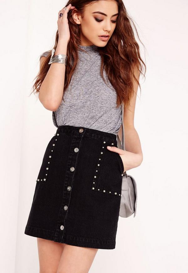 Studded A-Line Denim Skirt Black