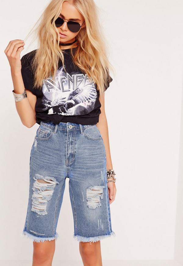 Cropped Ripped Knee Denim Shorts Blue
