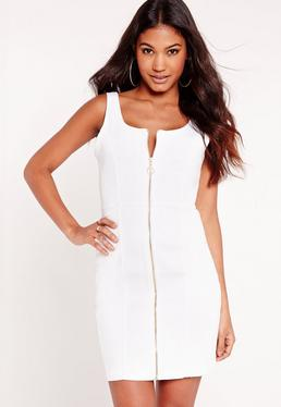 Fitted Denim Dress White