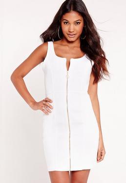 Fitted Denim Dress White